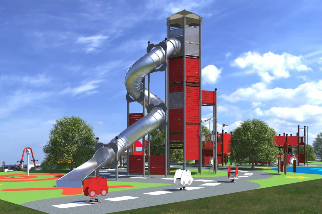 large red lighthouse playground