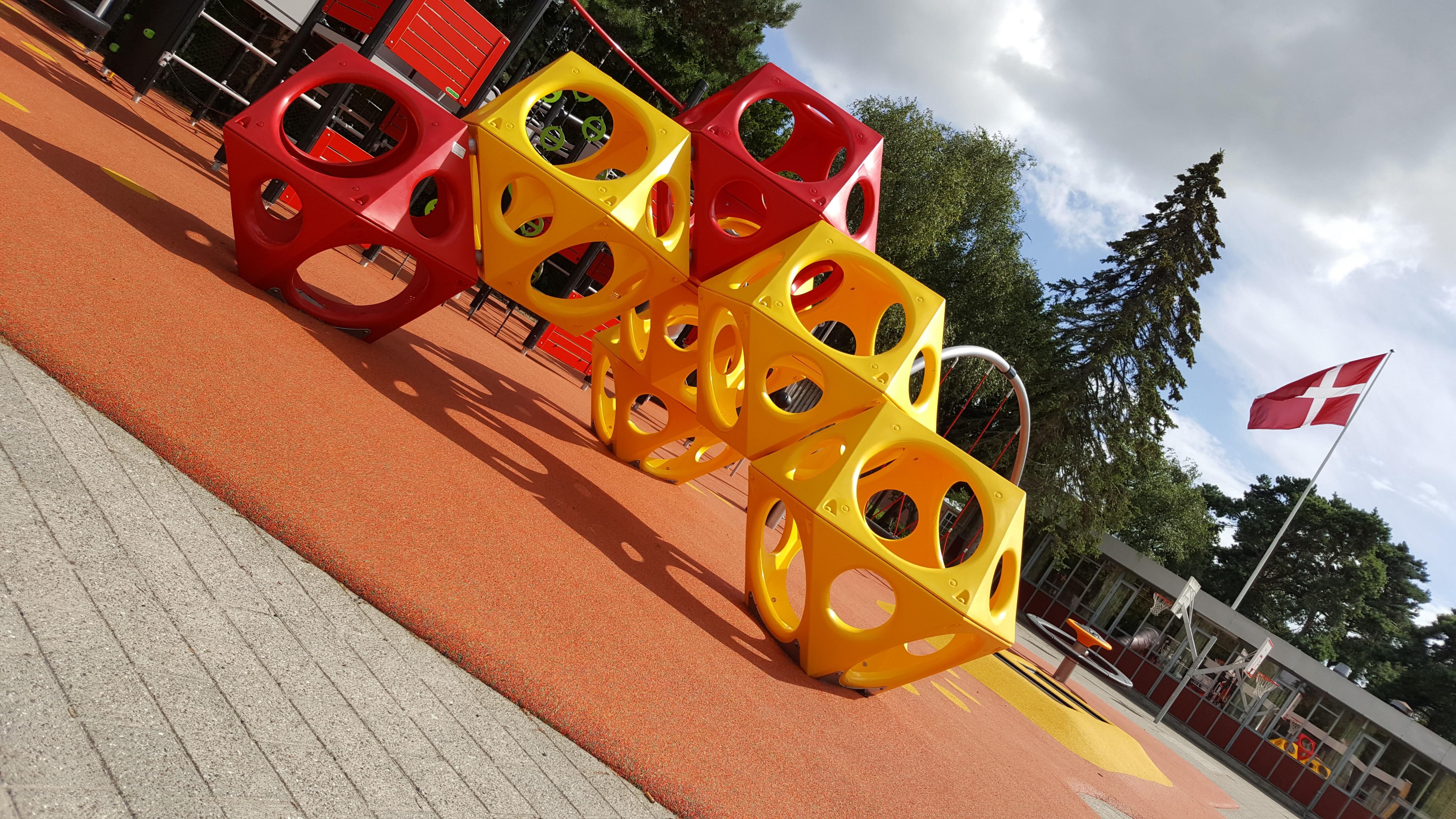 Red and Yellow Plastic Play Cubes in Denmark