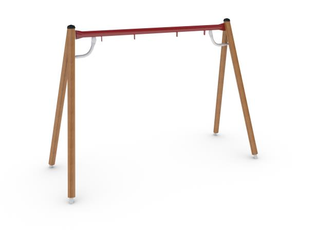 Turo swing frame with timber legs and a green steel top beam