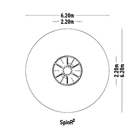 top view drawing of spinr2 playground roundabout